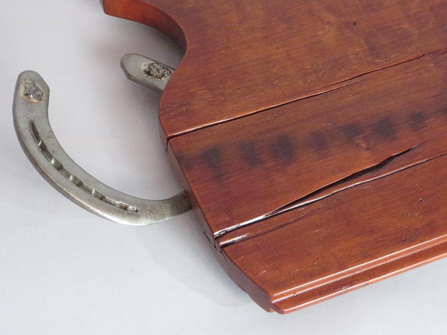 Tray #18010-DETAIL Cherry T&G Threshing Floor, Horse Shoe Handles