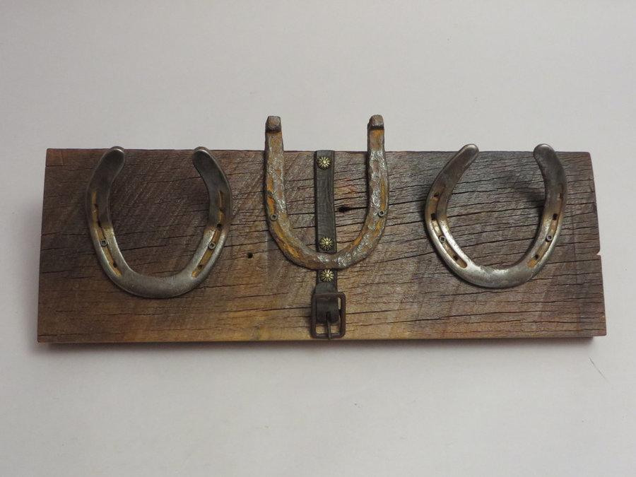 HorseShoe Rack. Reclaimed Poplar, Shoes & Leather.
