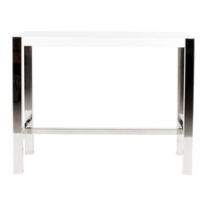 47-inch L Counter Table Stainless Steel Frame High Gloss Lacquer Finish Contemporary
