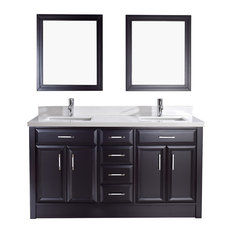 """1st Avenue - Adalene Double Vanity With 2 Mirrors, Espresso and White Marble, 63"""" - Bathroom Vanities and Sink Consoles"""