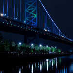 Pi Photography Wall Art and Fine Art - The Ben Franklin Bridge 3 Night Urban Landscape Photo Unframed Wall Art Print, 2 - The Ben Franklin Bridge 3 Night Photography (Urban Landscape Photograph) - Luster Photo Paper Unframed Wall Art Print