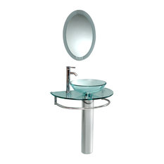 "Fresca Attrazione 30"" Modern Glass Bathroom Vanity, Frosted Edge Mirror"