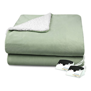 Biddeford Micro Mink Sherpa Electric Blanket Assorted Sizes Colors Traditional Blankets By Biddeford Blankets