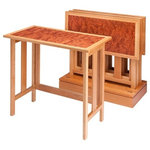 Krantz Design - Bubinga Mission Tray Tables with Base, Set of 4 - This folding tray table folds out for use, and then can be stored in it's base.  The top has a post catalyzed conversion varnish for maximum water resistance and wear properties.