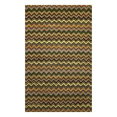 Trans Ocean Seville Zigzag Stripe Green 9' x 12' Rug
