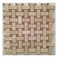 """Basket Weave With Emperador Dot Polished Tile, Crema Nouva 12""""x12"""""""