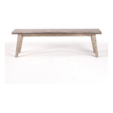 62-inch L Bench Solid Hand Crafted Acacia Wood Distressed Finish Tapered Wooden Legs
