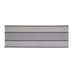 Handwoven Santorini Cotton Rug, Navy and Beige, 70x200 cm