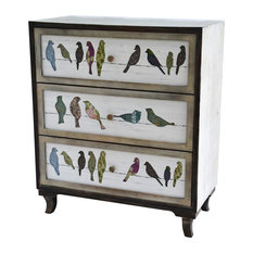 Crestview Birds on A Wire 3-Drawer Painted Chest by Crestview Collection