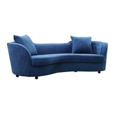 Palisade Contemporary Sofa Blue Velvet With Brown Wood Legs
