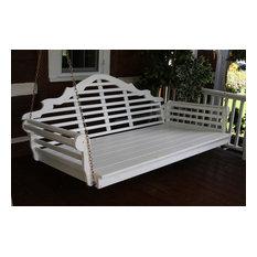 6' Pine Porch Swing Bed in Marlboro Design, Mushroom Stain