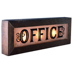 Second Chance Art and Accessories - Vintage-Style Lighted Glass Office Sign - These vintage style glass office signs will add character to your library, office, or den! Frames are made from antiqued cedar. Reproduction patterned glass is back lit using 3 incandescent night light bulbs with candelabra bases (4 watt each). Bulbs are included.