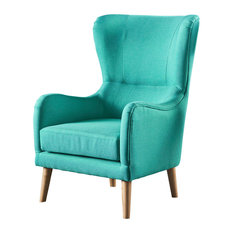 GDFStudio   Sandra Wingback Fabric Club Chair, Teal   Armchairs And Accent  Chairs