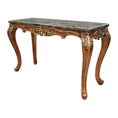 Traditional Marble Sofa Table, Walnut With Gold Trim