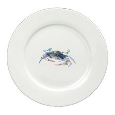 Blue Crab Blowing Bubbles Round Ceramic White Dinner Plate