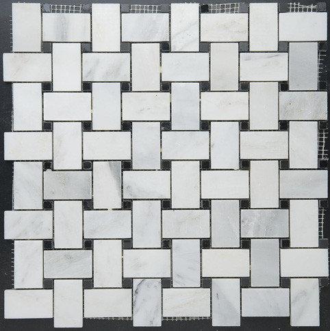 Basketweave White Marble w. Black Dot Mosaic - Tile