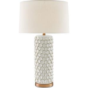 Calla Lily Table Lamp, Cream, Antique Brass