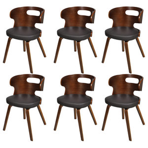 vidaXL Dining Chairs With Cut-Out Bentwood Backrest, Set of 6