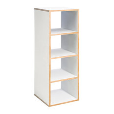 Stackable Modern Wood Shelf Cubes, Bench Boxes By Offi, White