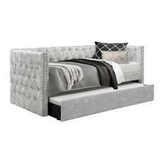London Chesterfield Day Bed, Single, Silver