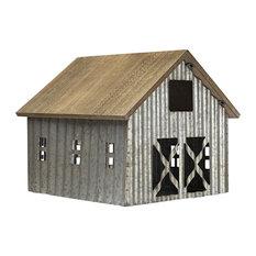 American Art Decor Wood and Metal Barn Farmhouse Tabletop Decor Accessory