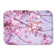 "Vintage Spring Lilac Pink Memory Foam Bath Mat, 34""x21"""