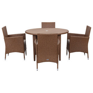Safavieh Montenegro Outdoor Living Set, 5-Piece, Toasted Almond and Sand