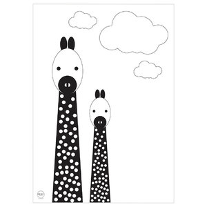 """Annie and Her Lil Friends"" Printed Canvas, Giraffes, 35x50 cm"