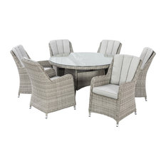 Maze Rattan Ltd - Oxford Outdoor Dining Set With Integrated Ice Bucket, 7 Piece - Outdoor Dining Sets