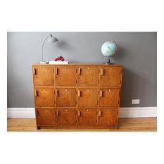 Mid century vintage Esavian wooden school lockers