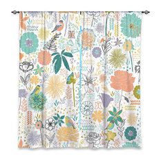 """Birds And Flowers Window Curtains, 40""""x52"""", Lined"""