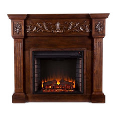 Bowery Hill Carved Electric Fireplace in Espresso
