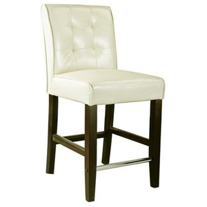 "Atlin Designs 25"" Bonded Leather Counter Stool in Cream White"