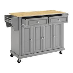 Natural Wood Top Kitchen Cart/Island Vintage Grey