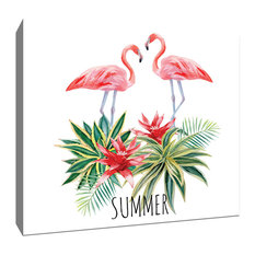 "Artsy Canvas - Flamingo and Tropical Plants Tropical Art Canvas 16""x16"" - Prints and Posters"