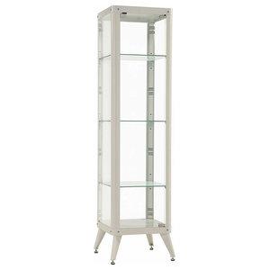 Tall Glass Display Cabinet, Metal Frame and 3 Glass Shelves, Modern Design