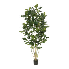 7' Potted Fiddle Tree With 240 Leaves, Green