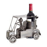 Modern Stylish Wine Bottle Holder in Golf Cart Metal Sculpture Design