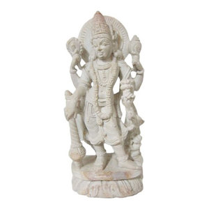 Mogul Interior - Yoga Gift- Hindu God Vishnu Stone Statue Religious Gifts Ideas 6 Inches - Decorative Objects And Figurines