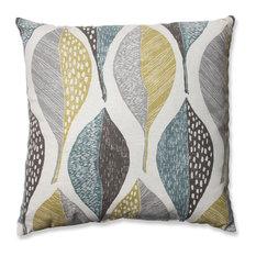 """Pillow Perfect Inc - Woodblock Leaf Rain Throw Pillow, 18"""" - Decorative Pillows"""