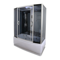 Steam Shower Enclosure with Whirlpool Tub Base Metal and Glass Frame Y9007