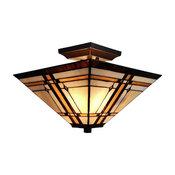 "Amora AM085CL14B Tiffany-Style Mission 2-Light Semi-Flush Ceiling Fixture, 14"""