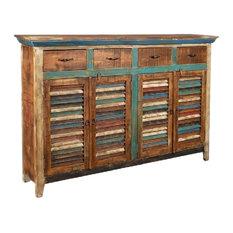 La Boca Rustic Distressed Solid Wood 4-Drawer 4-Door Sideboard