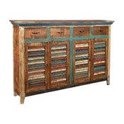 Rustic Distressed Reclaimed Solid Wood 4-Drawer 4-Door Sideboard