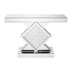 47-inch Rectangle Crystal Console Table Clear Mirror Finish