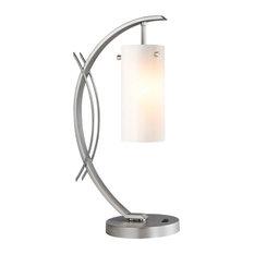 Woodbridge Lighting Eclipse Table Lamp, Satin Nickel, Glass Faux Opal