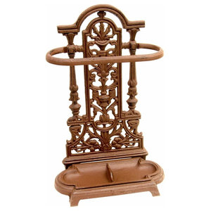 Rustic Stylish Umbrella Stand in Iron with Drop Tray, Vintage Ornate Design