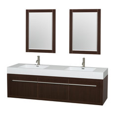 Wyndham Collection   Axa Wall Mounted Double Bathroom Vanity, Espresso, 72  Inch,