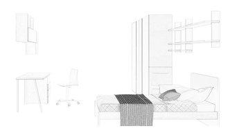 Cameretta moderna in laminato con letto a terra