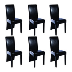 vidaXL - vidaXL Faux Leather Wood Dining Chairs Black Set of 6 - Dining  sc 1 st  Houzz & 50 Most Popular Contemporary Dining Chairs for 2018 | Houzz UK